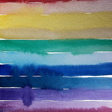 Rainbow Watercolour Stripes - Marlene Makes  by MarleneMakes