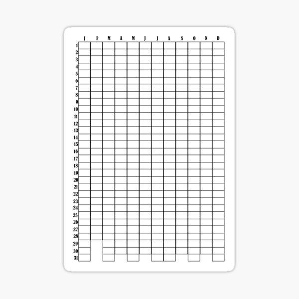 Calendrier de l'année - Bullet Journal Sticker