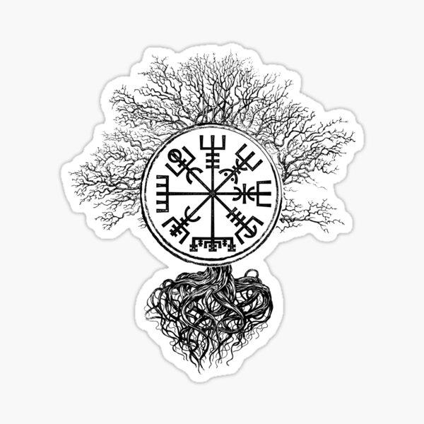 Vegvisir y Árbol de la vida -Yggdrasil Pegatina