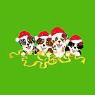 4 Cute Puppies Seasons Greetings by Barbara Applegate