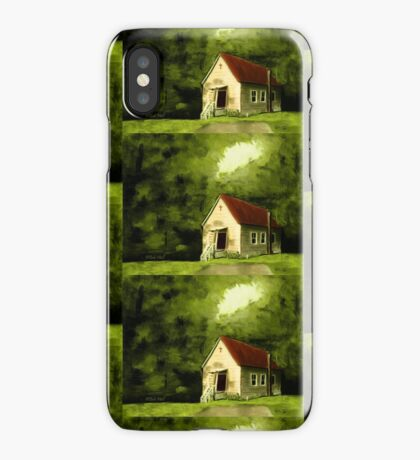 COUNTRY CHURCH, Pastel Painting, for prints and products iPhone Case