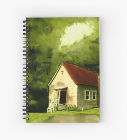 COUNTRY CHURCH, Pastel Painting, for prints and products Spiral Notebook