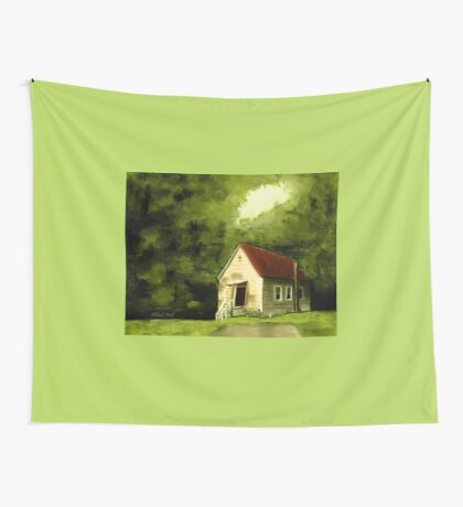 COUNTRY CHURCH, Pastel Painting, for prints and products Wall Tapestry