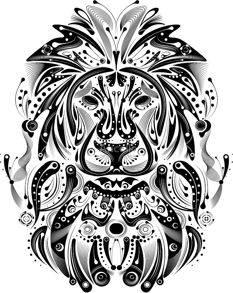 tribal lion by Ancello