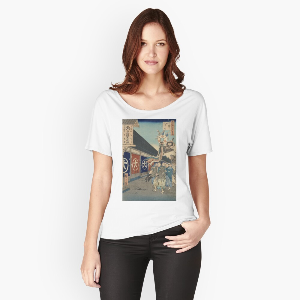 Silk-goods Lane - Hiroshige Ando - 1858 Women's Relaxed Fit T-Shirt Front