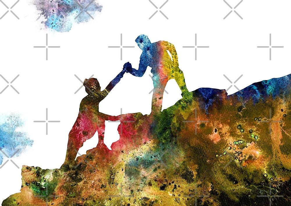 Mountain climbers couple, mountain climbers, watercolor mountain climbers by Rosaliartbook