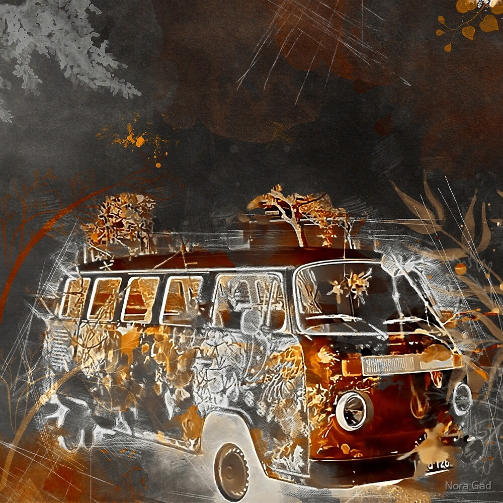 Yellow Vintage Van sketch  by Nora Gad