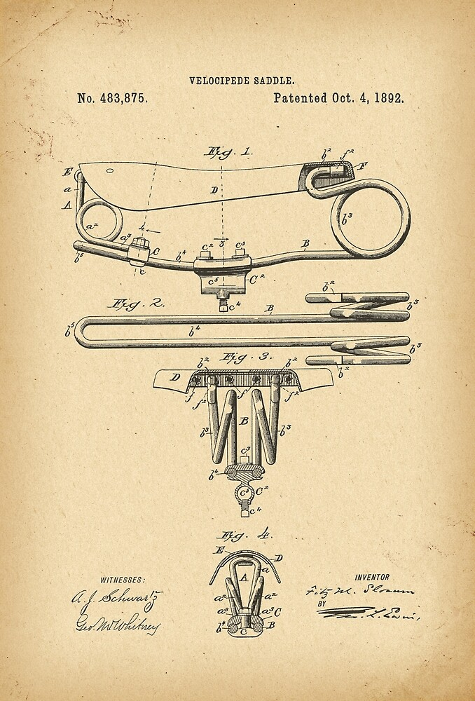 1892 Patent Velocipede Saddle Bicycle archival history invention by Khokhloma