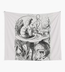 Alice in Wonderland Illustration - Alice and the Caterpillar  Wall Tapestry