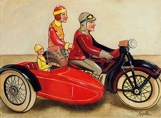 Sunday Ride - vintage tin toy painting by LindaAppleArt