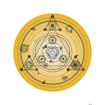 Yellow geometric design, sacred geometry art by GeometricEye