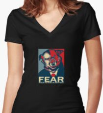 MANBEARPIG IS SUPER SERIAL! Women's Fitted V-Neck T-Shirt