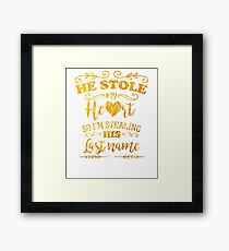 Funny Bride He Stole My Heart Gold Framed Print