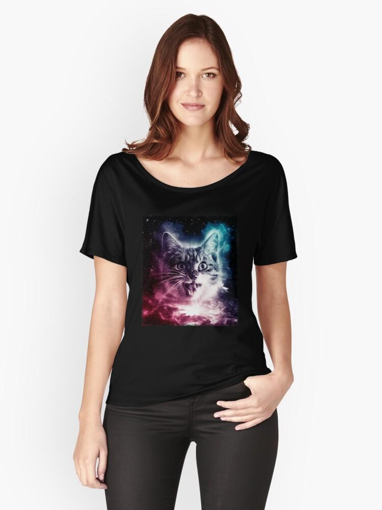 Cat In Space Shirt Galaxy Nebula Sci fi Retro Kitten T Shirt Women's Relaxed Fit T-Shirt Front