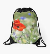 Bumble Bee on Poppy Drawstring Bag