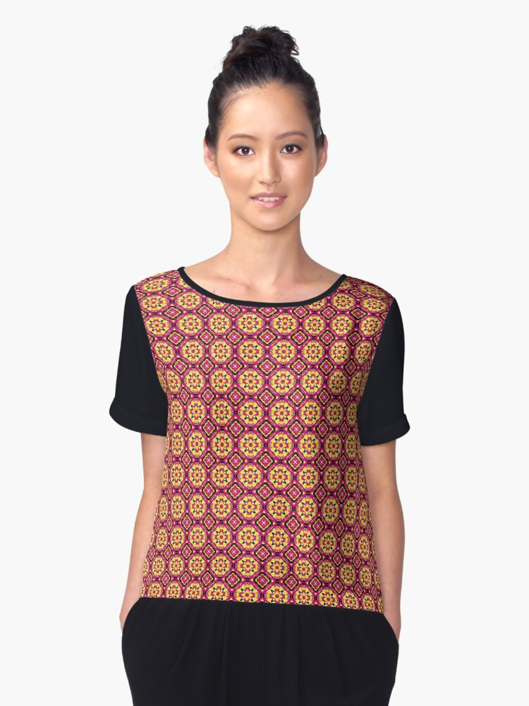 abstract pattern pattern gift Women's Chiffon Top Front