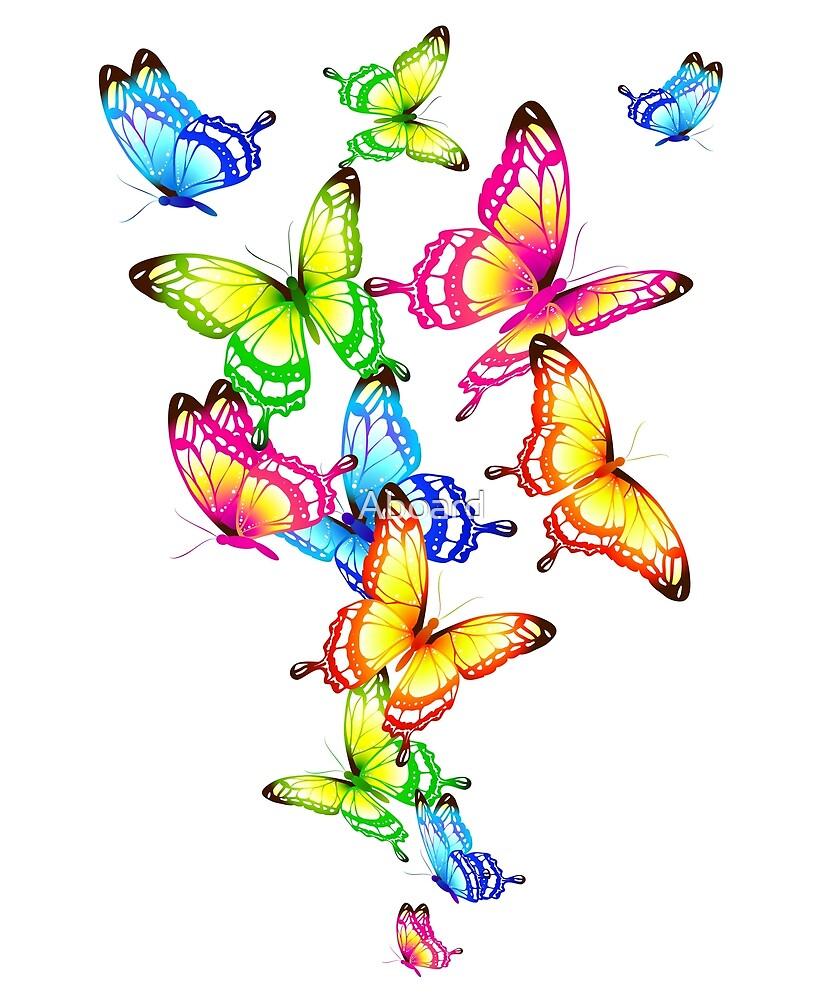 Beautiful butterflies, color print by Aboard