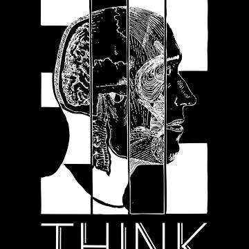 Think - Head Illustration Art Typography Bauhaus Teacher Student by RecycleBros
