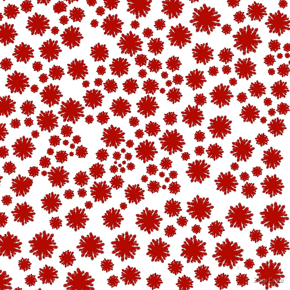 Red & White Graphic Pattern of Flowers by Zara Crow