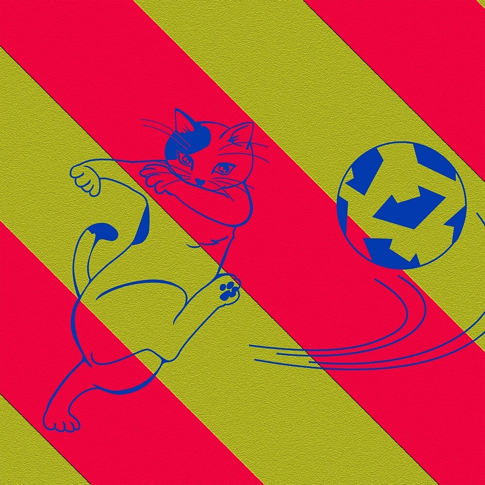 Cat Barca Soccer by Cristopher Ponso