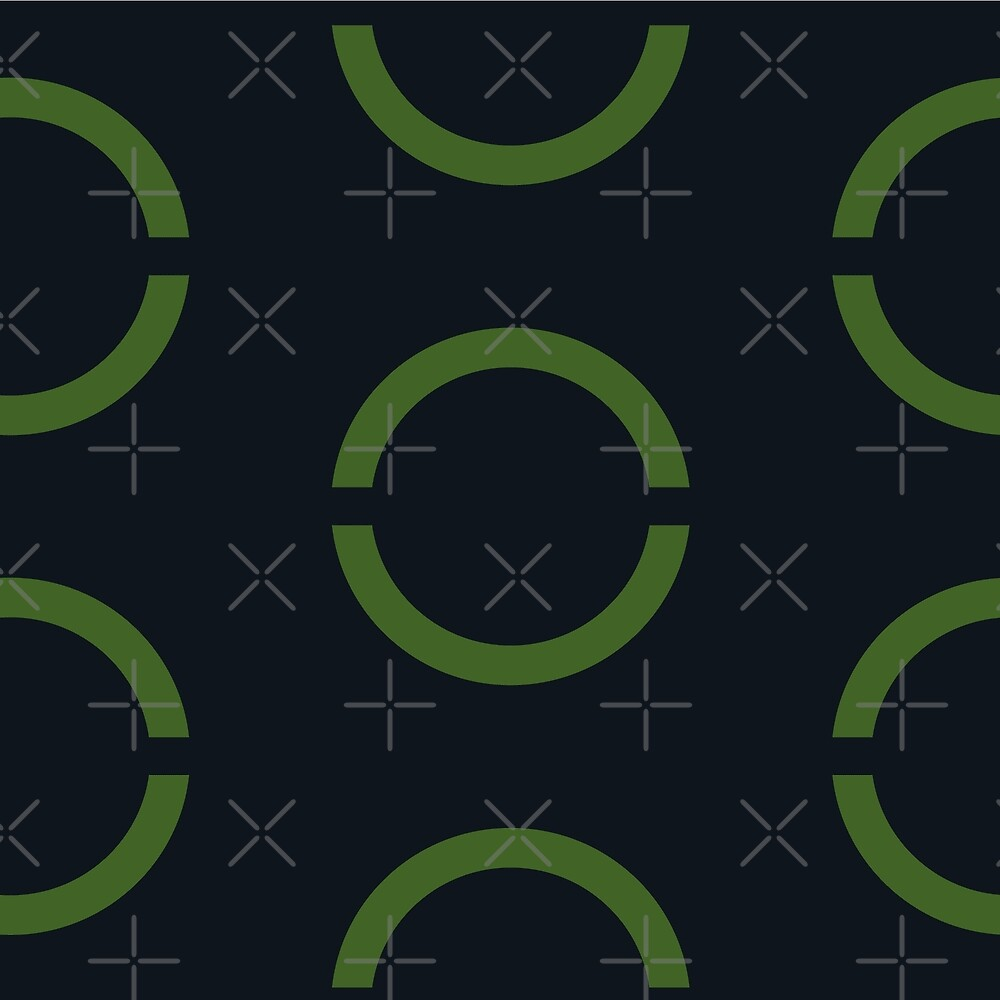 Seamless geometric background with round circles elements. Green and black. by asnia