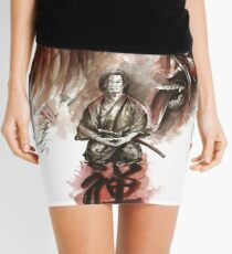 Samurai ronin zen meditation deamons of mind martial arts sumi-e original ink painting artwork Mini Skirt