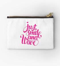 Just Smile and Wave pink Zipper Pouch