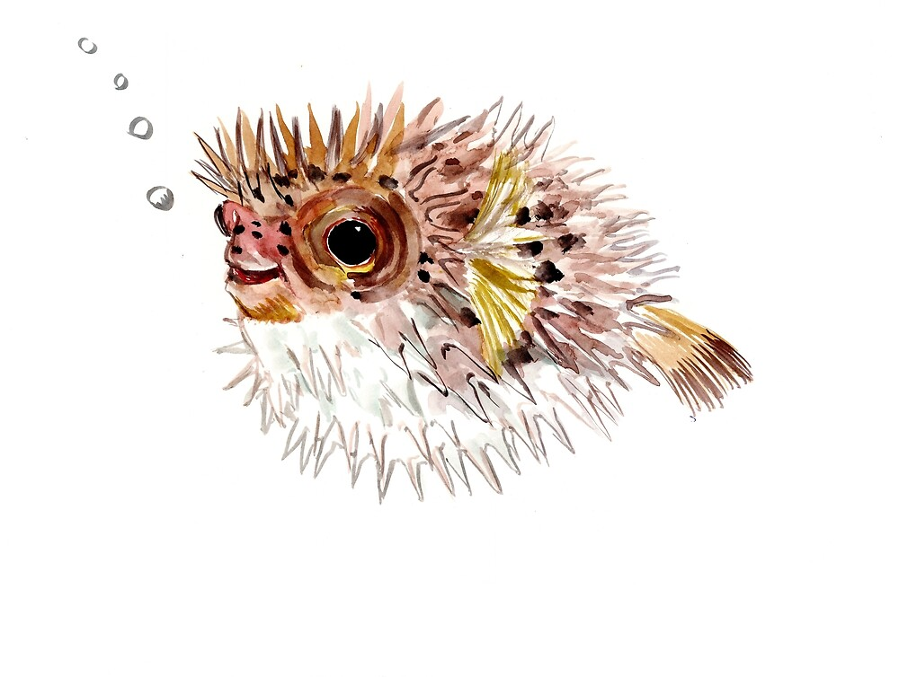 Pufferfish , coral fish, cute fish art, cute animals, animals, animal art by surenart