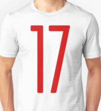 Tall red number 17 Unisex T-Shirt