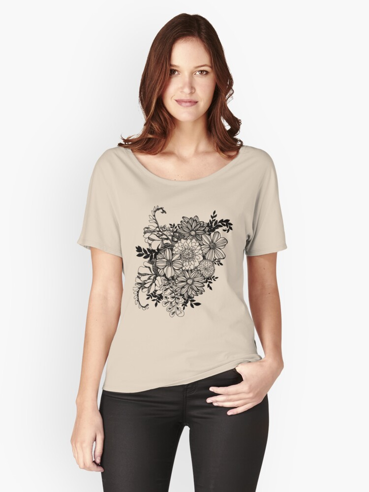 Ink Flowers ColorMe! Doodle Women's Relaxed Fit T-Shirt Front