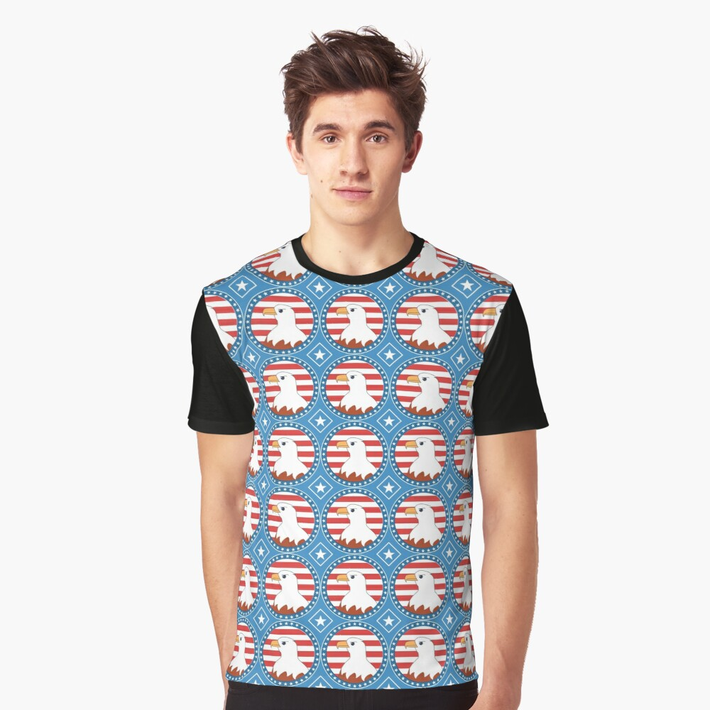 USA bald eagle pattern Graphic T-Shirt Front