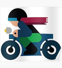 Guy riding a Motorcycle Poster