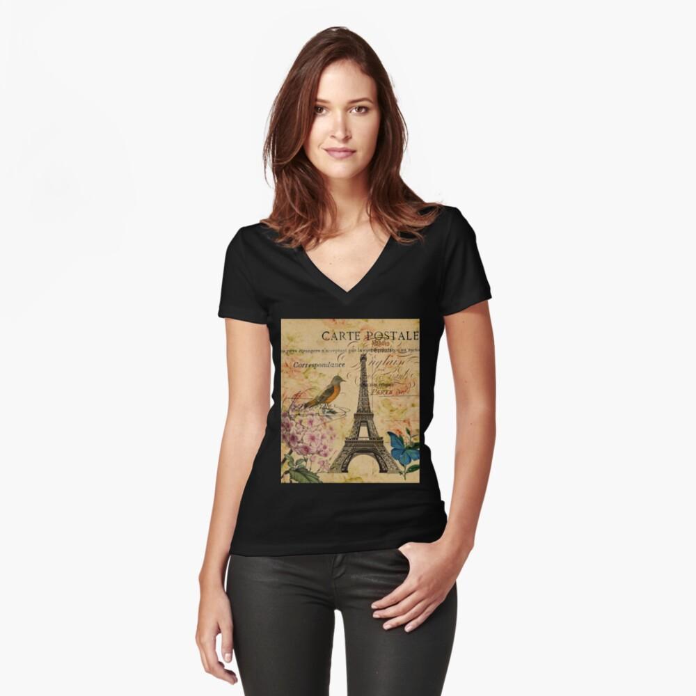 Vogel-Schmetterlingsmode des Vintagen Eiffelturms Blumen Tailliertes T-Shirt mit V-Ausschnitt
