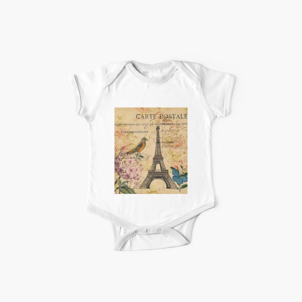 Vogel-Schmetterlingsmode des Vintagen Eiffelturms Blumen Baby Body