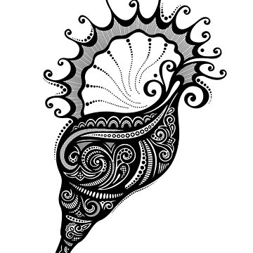 Black and White Print of Exotic Sea Shell by lissantee