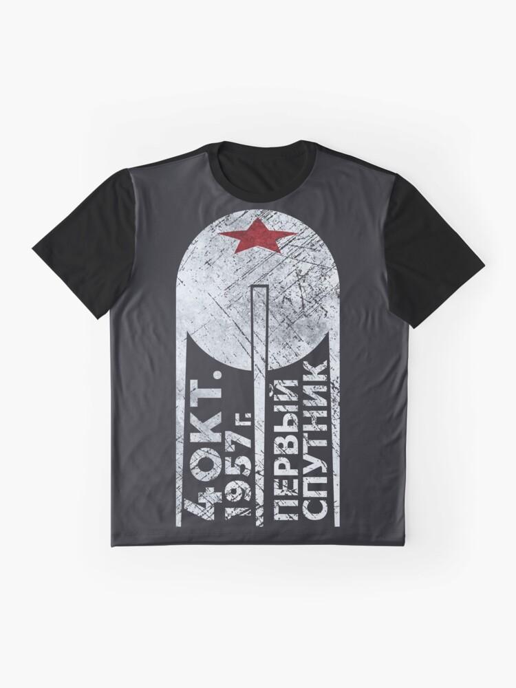 Alternative Ansicht von CCCP Sputnik 1 Erste Satellit - Silber Edition Grafik T-Shirt