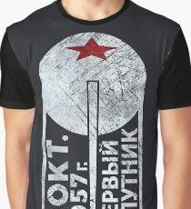 CCCP Sputnik 1 First Satellite - Silver Edition Graphic T-Shirt