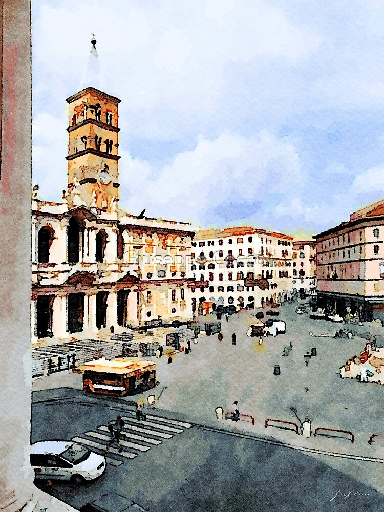 Rome: square with cathedral and bell tower seen from the window by Giuseppe Cocco