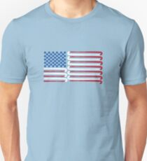Field Hockey American Flag with Blue Balls for Stars Unisex T-Shirt