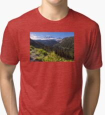 Scenic view of Mt Rainier in National Park WA State on a sunny day Tri-blend T-Shirt