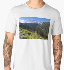Scenic view of Mt Rainier in National Park WA State on a sunny day Men's Premium T-Shirt