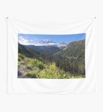 Scenic view of Mt Rainier in National Park WA State on a sunny day Wall Tapestry