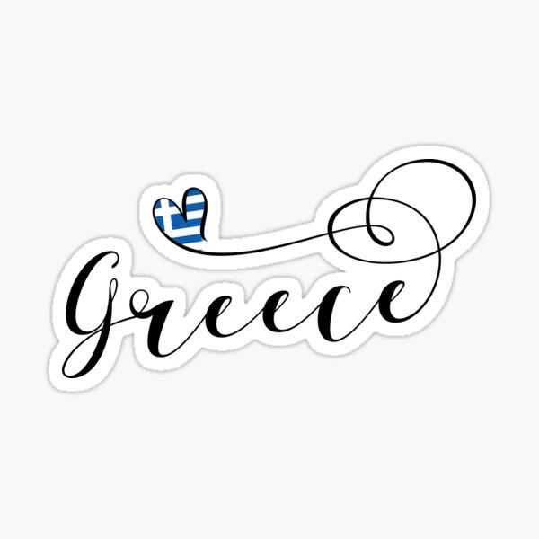Greece Heart, Greek Flag, Hellenic Republic, I Love Greece Sticker