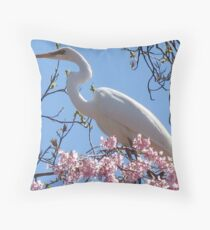 Egret at Holmdel Park Throw Pillow
