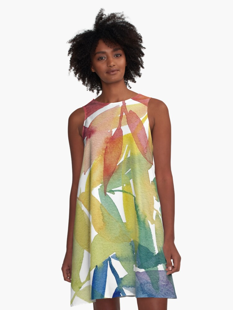 Rainbow Watercolour Leaves - Colourful Leaves - Marlene Makes A-Line Dress Front