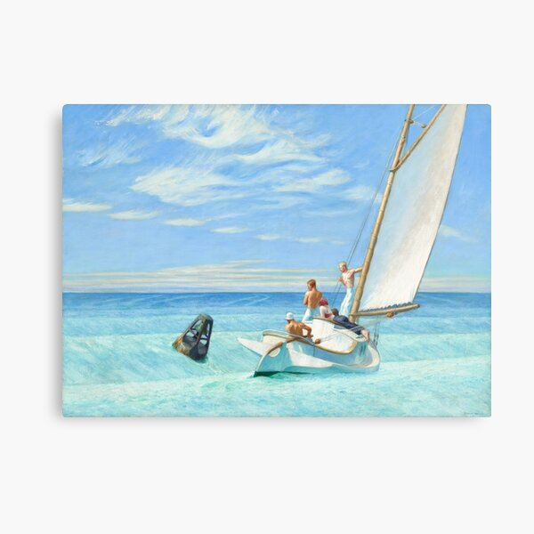 Edward Hopper Ground Swell 1939 Painting | Sailing Boats Sails  Canvas Print