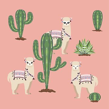 Alpaca with Cacti  by AnnArtshock