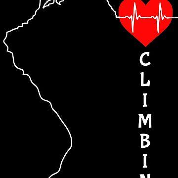 Rock Climbing T Shirts - I Love Climbing Heartbeat by BCreative4U