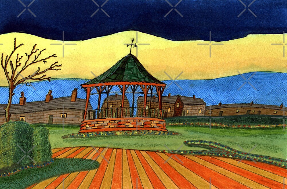 193 - THE BANDSTAND - DAVE EDWARDS - GOUACHE, INK, FINELINERS AND COLOURED PENCILS - 2007 by BLYTHART