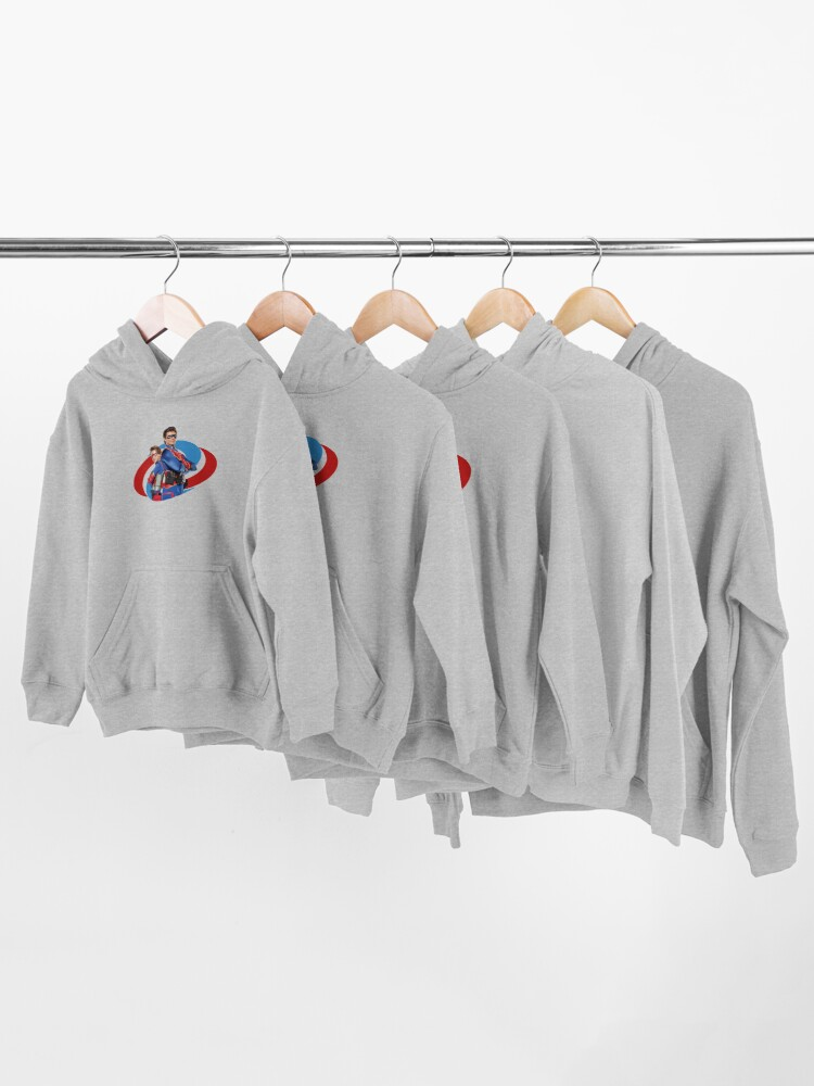 Alternate view of Captain Man and Kid Danger Kids Pullover Hoodie